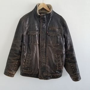 Levi's Faux Leather Distressed Trucker Jacket M